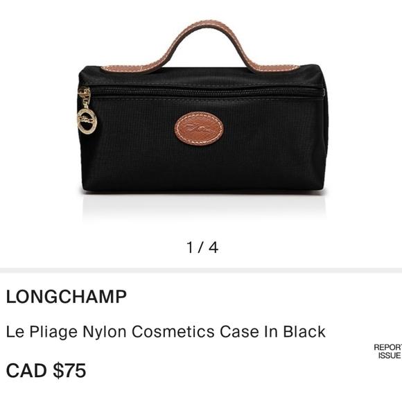 Longchamp Le Pliage Nylon Cosmetics Case In Black